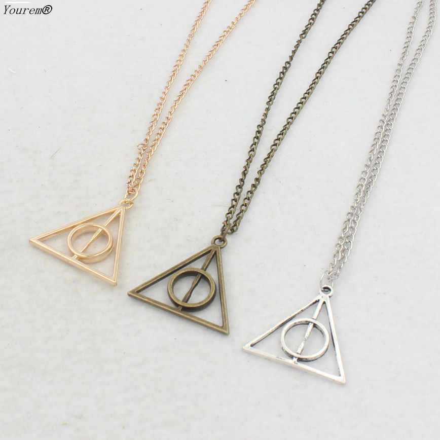 vintage 60cm long chain triangle death pendant necklaces for women men alloy nickel free fj043