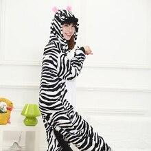 Sıcak yetişkin Kigurumi Onesies erkekler kadınlar için pembe tek boynuzlu at Zebra Cosplay kostüm partisi fantezi Anime hayvan ev giyim tek parça kız
