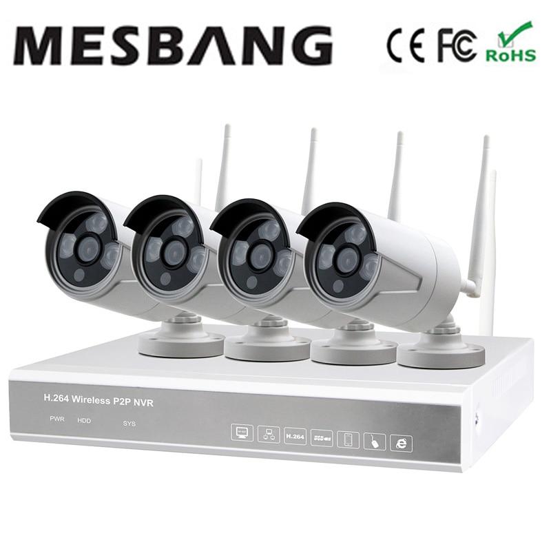 2017 Mesbang 720 P 4ch ip caméra wifi extérieur NVR kits ensemble avec 1 to HDD par Fedex DHL livraison gratuite