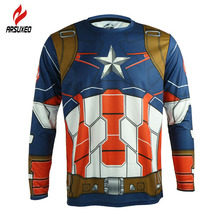 ARSUXEO Men Long Sleeve Sports Cycling Clothing DH Downhill Jerseys Shirts Captain America Iron Man Bike Wearing Cycling Jersey