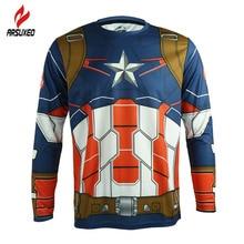 ARSUXEO Men Long Sleeve Sports Cycling Clothing DH Downhill Jerseys Shirts Captain America Iron Man Bike Wearing Cycling Jersey