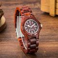 De Las nuevas Mujeres de Moda Band Ronda de Cuarzo Analógico Reloj de pulsera de Reloj de Madera de Sándalo Rojo De Madera Relojes