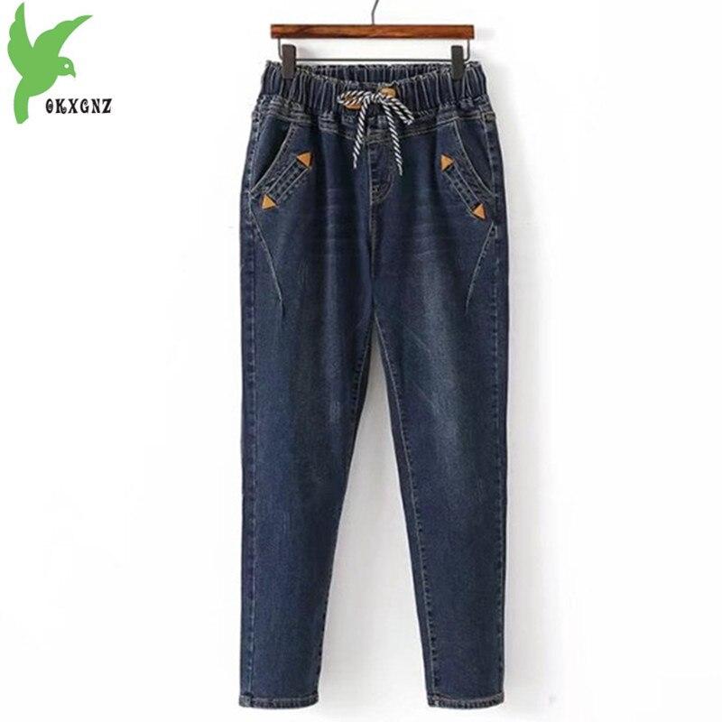Большие размеры 5XL, женские джинсы, новинка 2018, Осень зима, эластичная талия, джинсовые брюки, большой размер, свободные, женские, вареные, шар