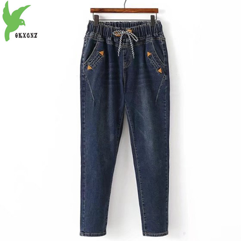 Plus Size 5XL Women Jeans 2018 New Autumn Winter Elastic Waist Denim Trousers Large Size Loose Female Washed Harem Pants 1987