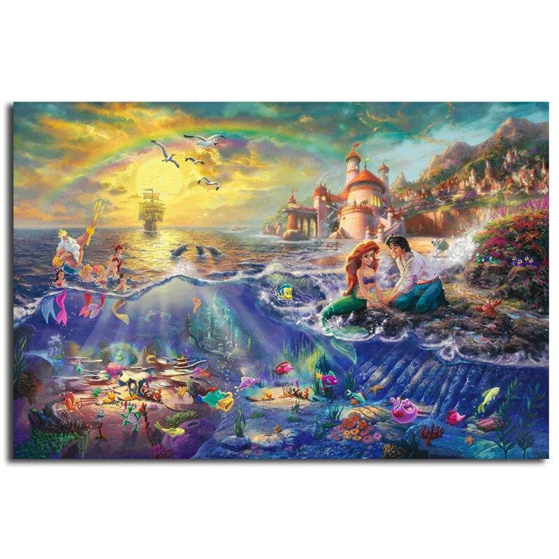 Thomas Kinkade La pequeña sirena y el vagabundo HD pintura pared arte impresión en lienzo Sala imagen decorativa regalos de navidad
