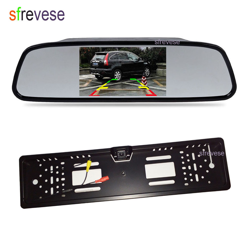 4 3 Car Vehicle LCD Mirror Monitor Rear View Kit Waterproof EU Car License Plate Frame