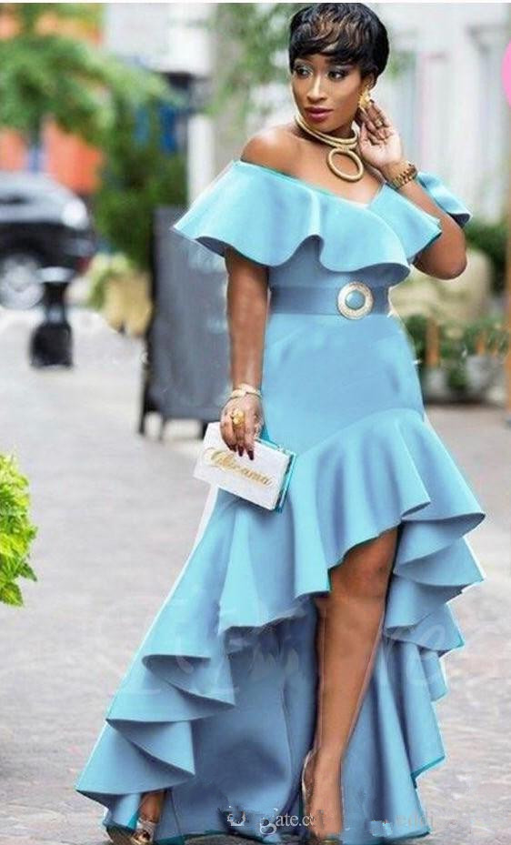 <font><b>2018</b></font> Off Shoulder Evening Dresses High Low Sky Blue Prom Gowns Ruffle With Sashes Custom Made Formal Party Gowns <font><b>Sexy</b></font> Fashion image