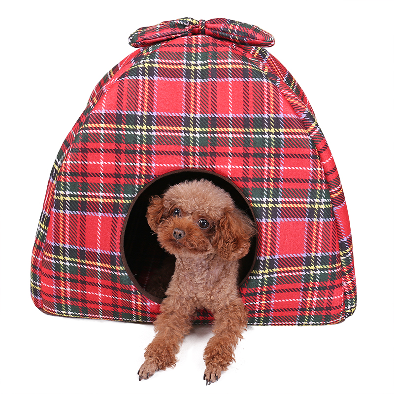 New Arrive Pet Kennel Super Soft Fabric Red Mat Cushion Warm Nest Tent House Pup Grid Print Tapered House for Cat Dog in Dog Coats Jackets from Home Garden