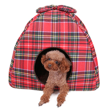 New Arrive Pet Kennel Super Soft Fabric Red Mat Cushion Warm  Nest Tent House Pup Grid Print Tapered House for Cat Dog red house painters red house painters red house painters