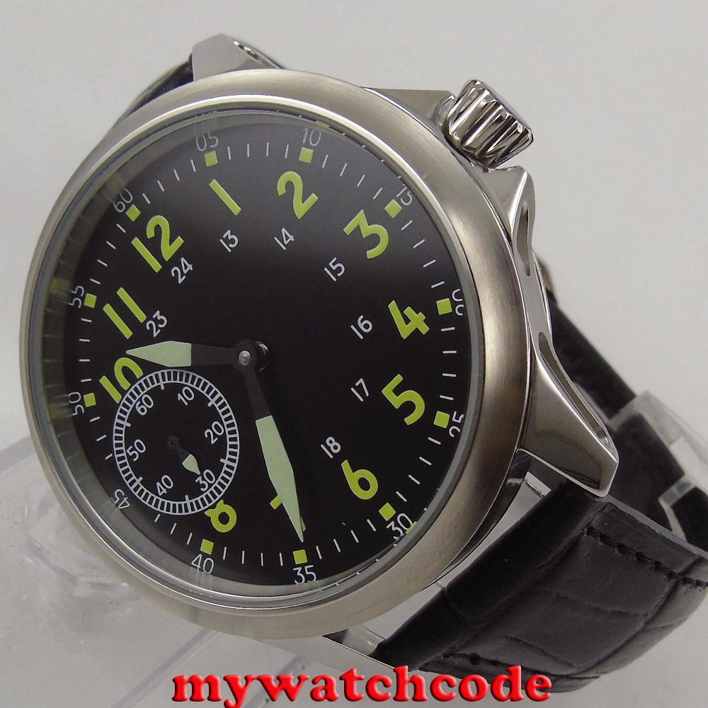 цена на brushed 45mm Corgeut black dial 6497 hand winding movement mens wrist watch C89