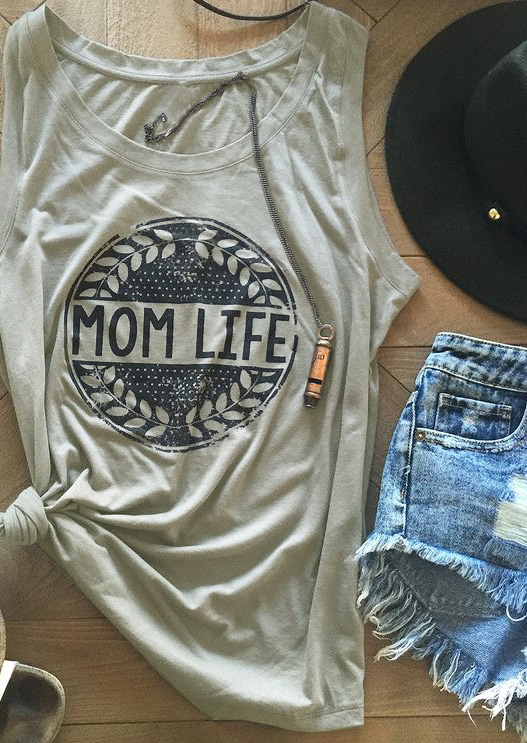 Tank     Tops   Women Summer Sleeveless Fashion Mom Life Olive Branches Print   Tank   Femme Casual O-Neck   Tank   Light Grey Ladies   Tops   Tee