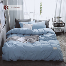 Liv-Esthete Pure Blue Luxury Bedding Set Soft Home Duvet Cover Flat Sheet Double Queen King Adult Bed Linen Bedspread As Gift