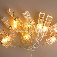 3M 20 LED Card Picture Photo Clips Pegs Bright String Lights LED Lamp Wedding Decoration Indoor