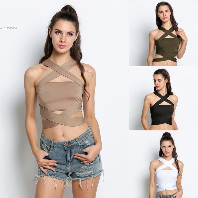 Y Women Halter Bandage Crop Top Beach Club Wear