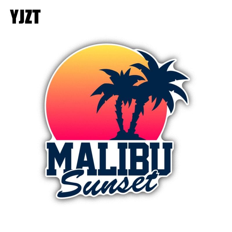 YJZT 11CM*11.9CM Personality Malibu Sunset Car Sticker Decal PVC Car Accessories 6-1435