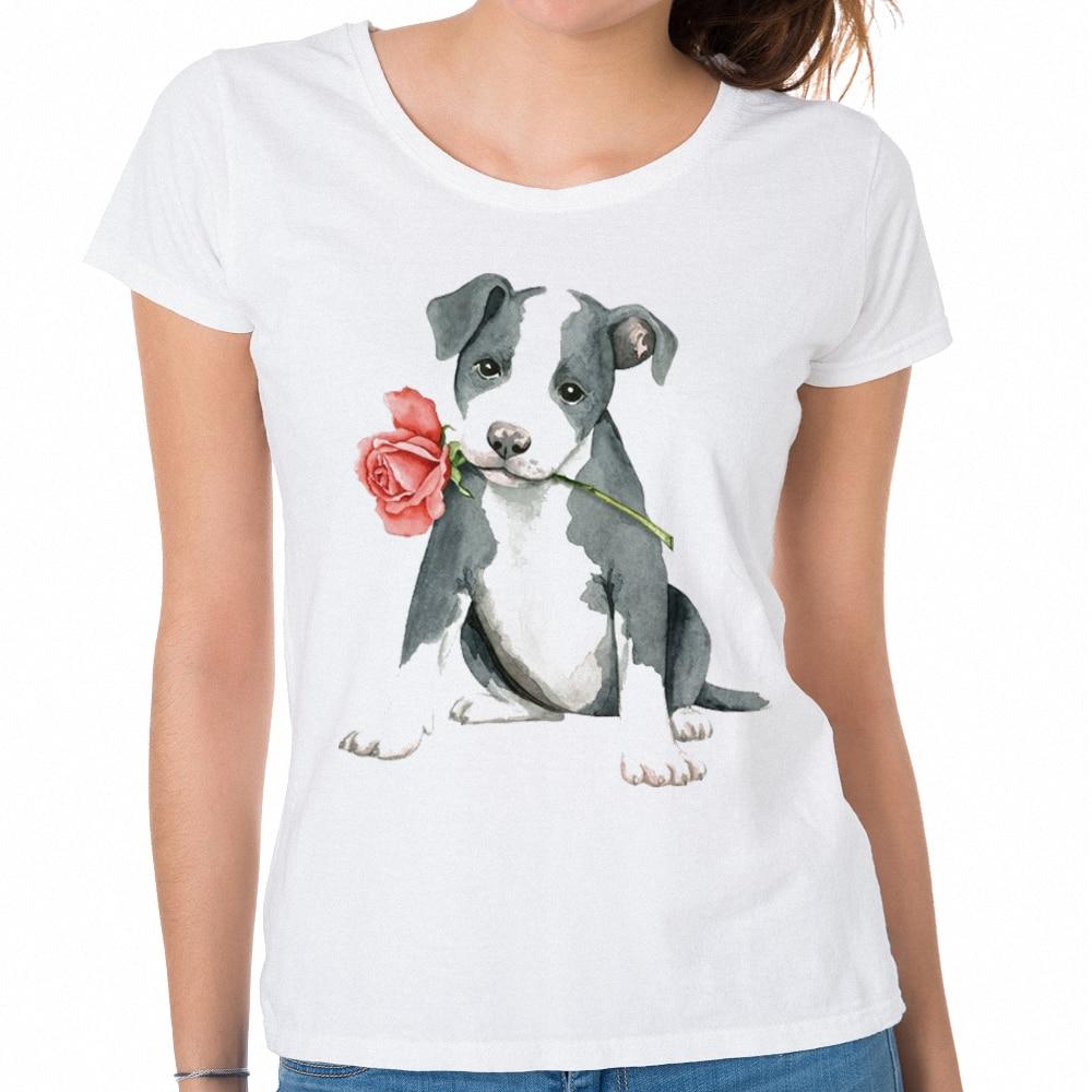 Лидирующий бренд tumblr День Святого Валентина Женские футболки Лето Забавный Для женщин рубашки хип-хоп розовое Питбуль принт футболки