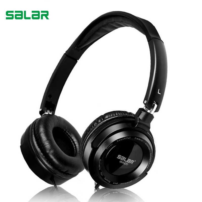 Salar EM520 HIFI estéreo bajo profundo de 3,5mm auriculares plegables con cable auriculares para juegos auriculares portátiles ajustables para ordenadores