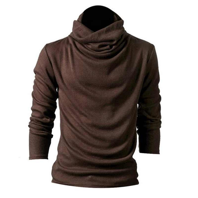 Erkek moda uzun kollu örme T-Shirt ince erkek yüksek boyun katı üst pamuklu kazak sonbahar rahat temel t-shirt