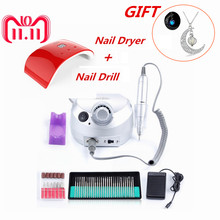 35000RPM Nail Electric Machine with 24W Nail Dryer Lamp with 30pcs Nail Drill Bits Set Manicure Acrylic Gel Nail Art Tools Kit(China)