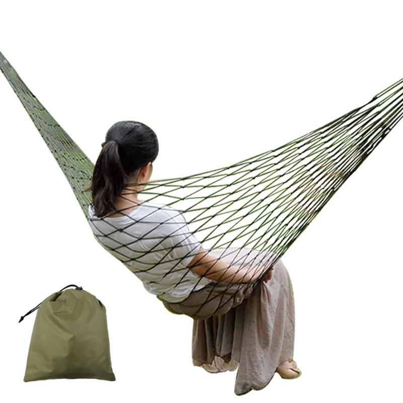 Single Person Mesh Nylon Hammock Portable For Camping Beach Outdoor Leisure Hanging Bed Swing Adult Furniture Ulatralight New