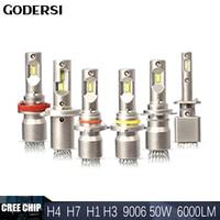Car Fanless Headlight Kit Hi lo Beam H7 H4 LED Canbus CREE Chip 50W 6000LM H1 H3 H8 H11 9012 9006 LED Bulb Light Auto Fog Lamp
