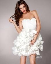 Neue A-Line Vestidos De Festa Schatz Weiß Tüll Hand Made Blumen Bogen Cocktailkleid Off-schulter Mi-Ni Party Kleider CX031