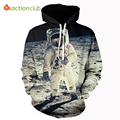 Actionclub 2017 primavera nova moda dos homens hoodies e camisolas de impressão 3d espaço astronauta casaco hiphop casacos casual sportswear