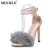 MCCKLE High Heels Women Snake Pattern Sexy Pumps Pluffy Faux Fur Thin Heel For Female Party