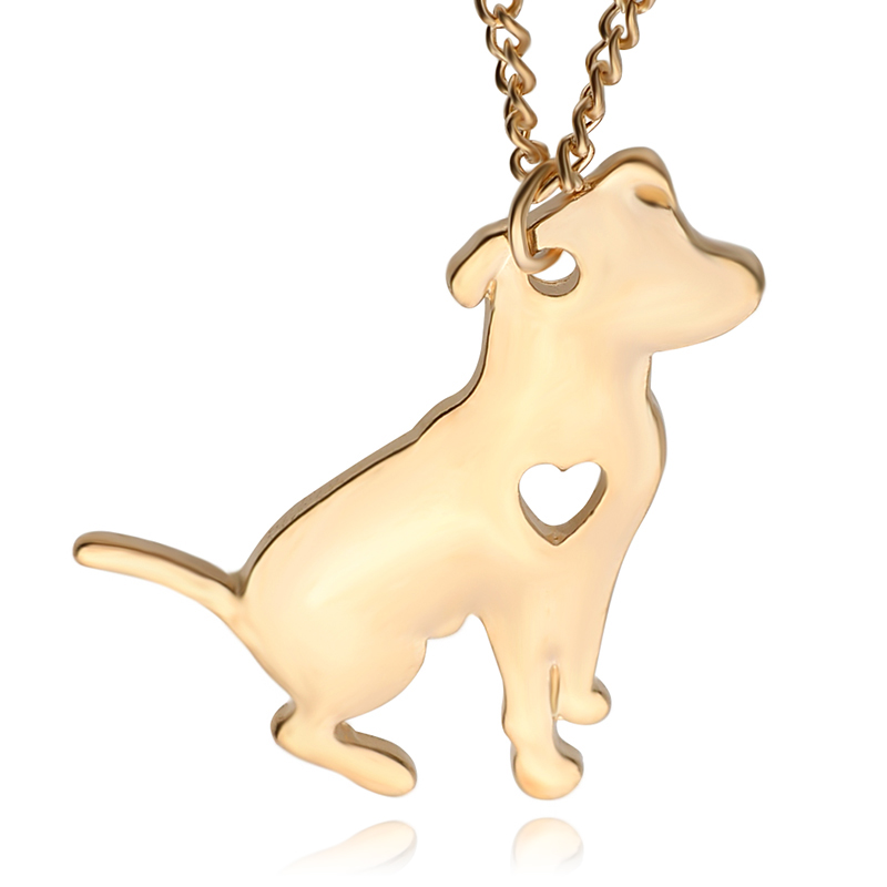 3ebe3f6e8e3 New Fashion Lovely Dog Pit Bull Necklace Cute Animal Silver Gold Color  Plated Pendants For Women gift for girlfriend