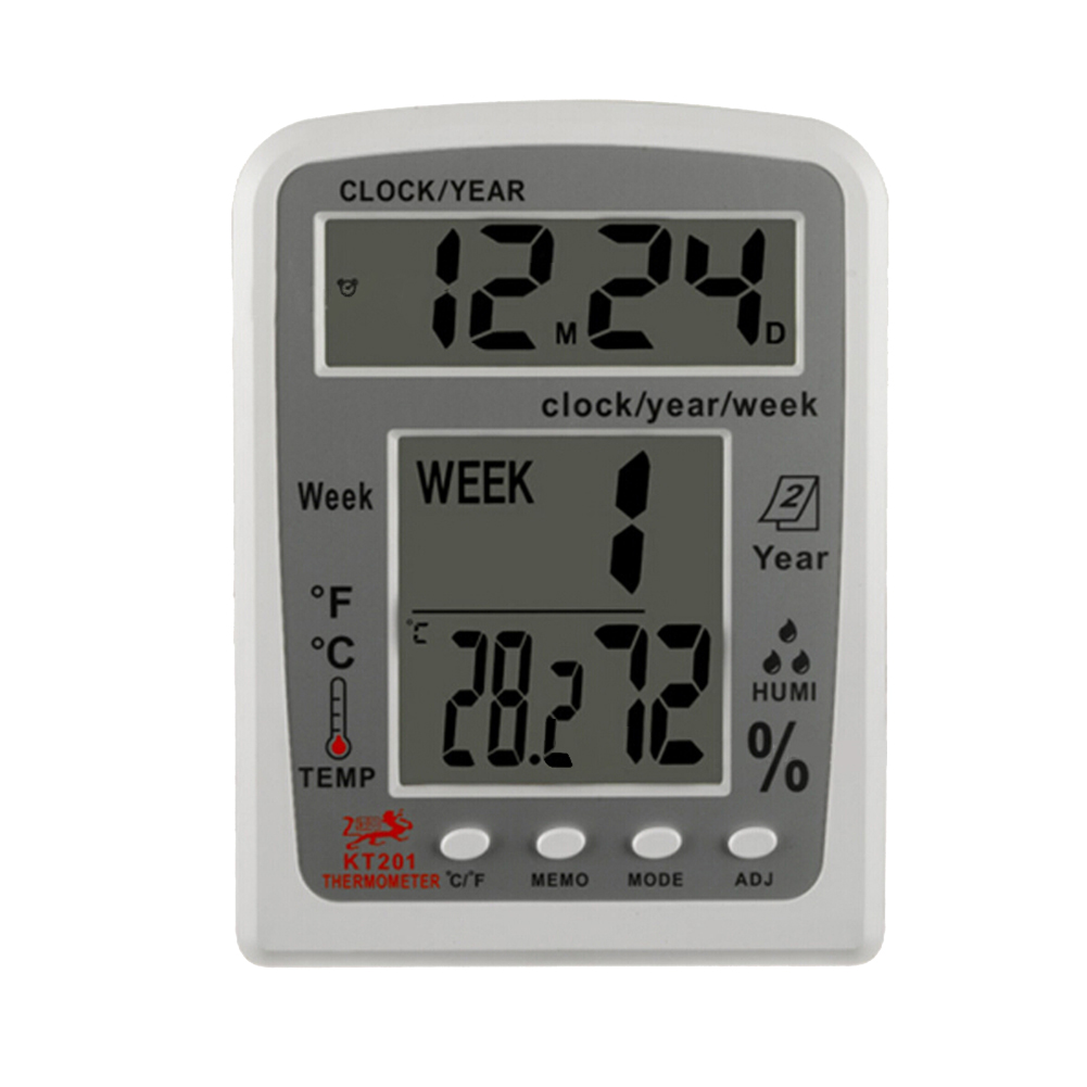 KT201 Digital LCD Thermometer Hygrometer Electronic Temperature Humidity Meter Weather Station Indoor Outdoor Tester Alarm Clock стоимость