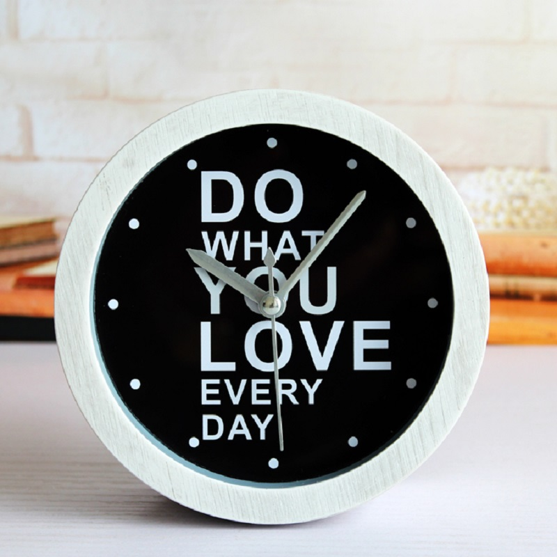 Retro idyllic white imitation wood color small alarm clock / fashion creative table clock