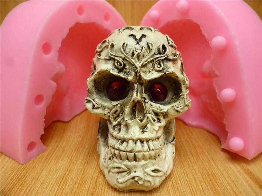 3D Skull Head Silicone Fondant Chocolate Sugarcraft Clay Mold Baking Tool DIY