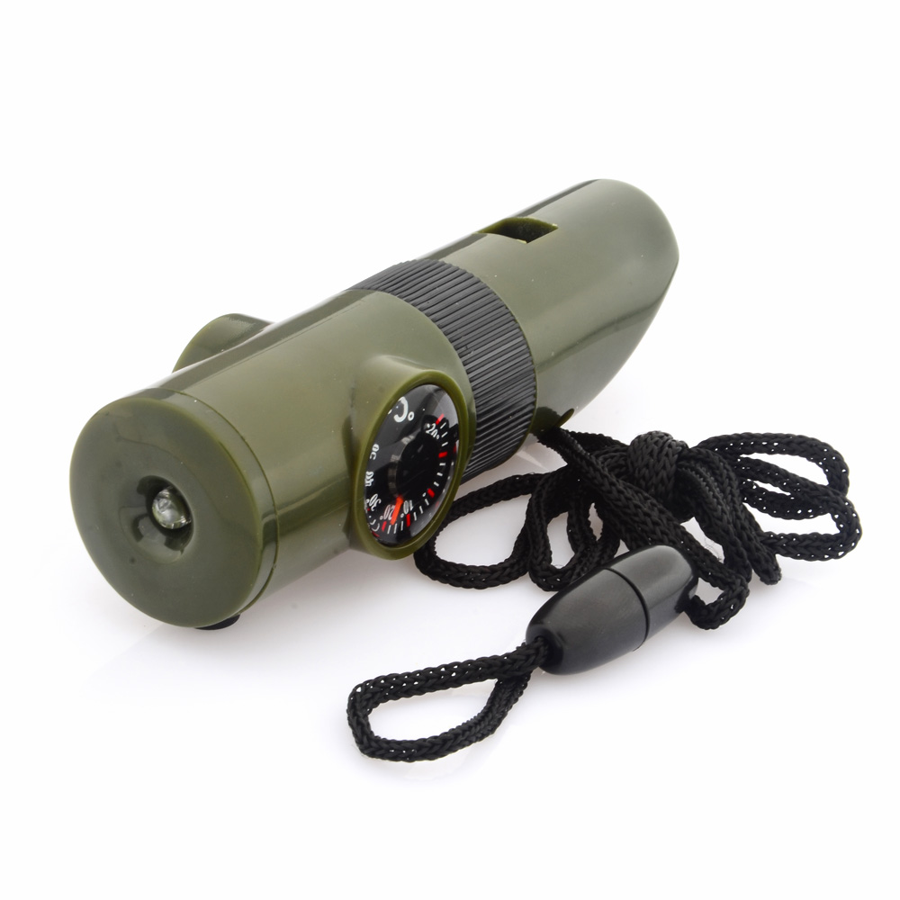 5PCS Portable 6-in-1 Multi-function Outdoor Survival Whistle Army Green multi function green