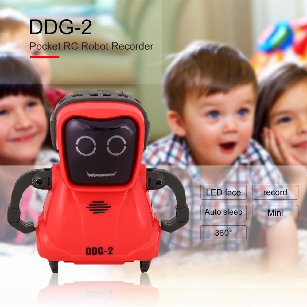De noël DDG-3 Intelligente Smart Mini Poche Enregistrement Vocal RC Robot Enregistreur Librement Roue 360 Rotation Jouets pour Enfants Cadeau