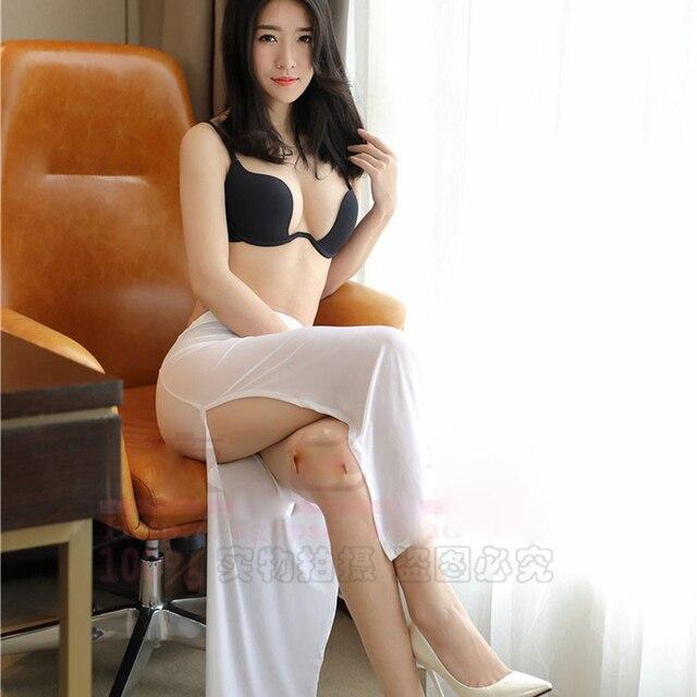 Sexy Women Ice Silk One Step Skirt See Through High Cut A -8336