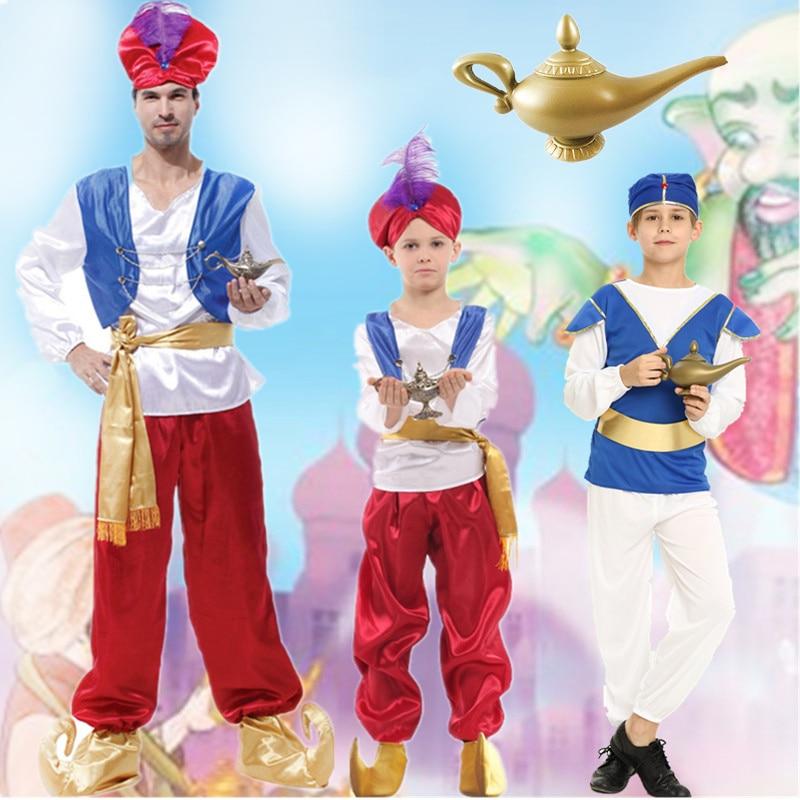 Us 17 29 5 Off Adult Children Halloween Party Aladdin Costumes Aladdin Lamp Genie Costume Adam Prince Fantasia Boy Party Arab Clothing Kid In Movie
