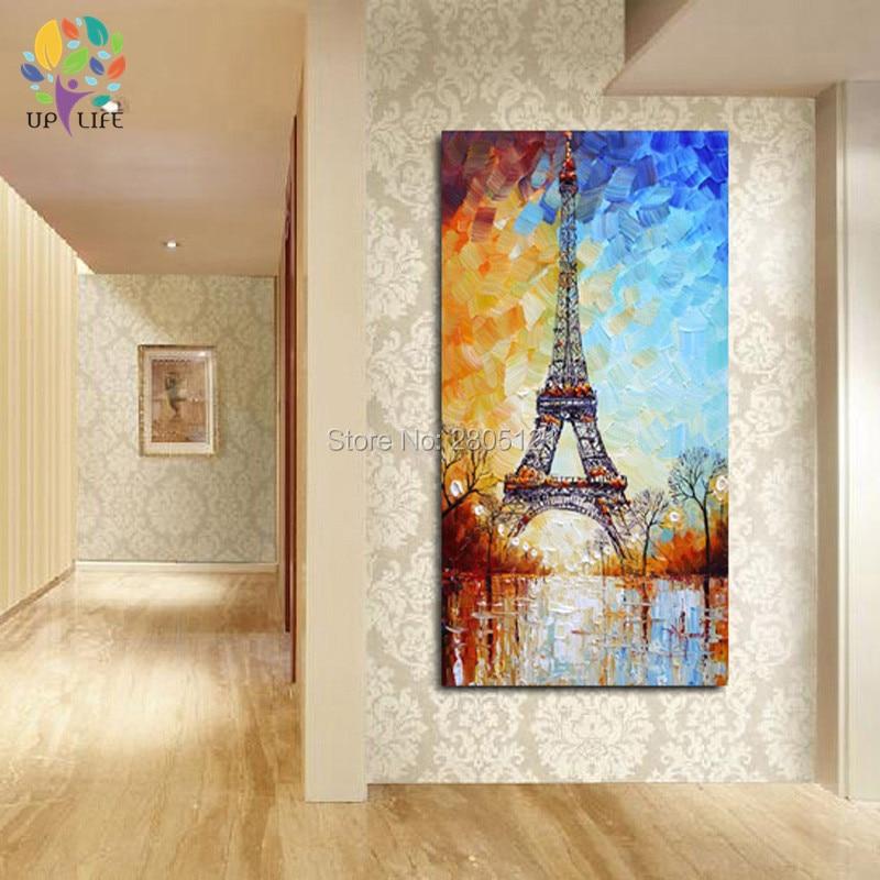 handmålad palettkniv oljemålning Eiffeltornet vitblått paris - Heminredning - Foto 3