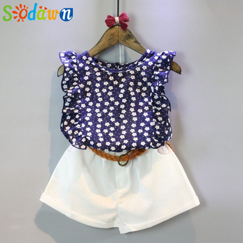 Sodawn Girls Clothes 2017 Brand Girls Clothing Sets Kids Clothes Cartoon Children Clothing Flower Tops+Shorts Clothing Set conjuntos casuales para niñas