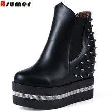 Asumer/Новое поступление, женские ботинки модные River платформы увеличивающие рост ботильоны сплошной цвет на осень-зиму