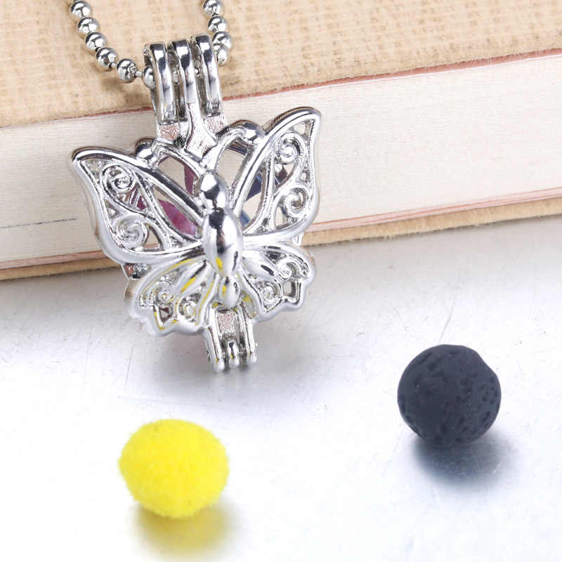 6pcs Silver butterfly Pearls Cage Jewelry Making Supplies Bead Cage Pendant Essential Oil Diffuser Locket For Oyster Pearl