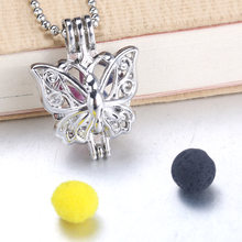 6pcs Silver butterfly Pearls Cage Jewelry Making Supplies Bead Cage Pendant Essential Oil Diffuser Locket For Oyster Pearl(China)