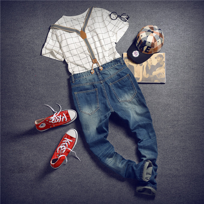 Mens Distressed Jeans Ripped Jumpsuit  Denim Overalls Men Baggy Cargo Pants with Suspenders Denim Bib Overalls for Men 260 купить