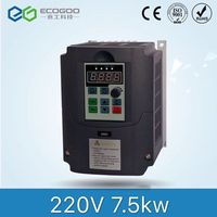 VFD 7.5kw 50hz to 60hz single phase 220v ac to 3 phase 380v / 415v ac frequency converter inverter for motor speed control