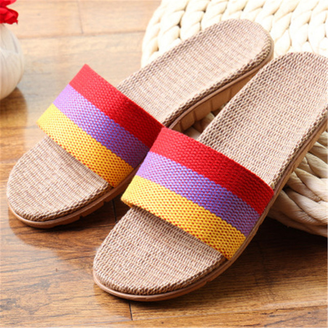 Men Women Linen Flax Flats Slippers Indoor Shoes