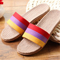 New Boys Girls Linen Home Slippers 2017 Fashion Casual Color Striped Breathable Flax Knit Indoor Shoe Children Bedroom Slippers