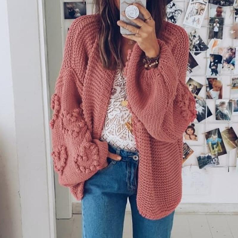 Misswim Loose Knitted Cardigan Women Autumn Winter Lantern Sleeve Sweaters Ladies Cardigan Outwear Crochet Coats Knitwear New