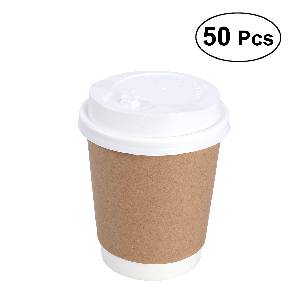 50pcs 8oz Disposable Thicken Paper Cups for Juice Milk Tea for Party Weddings Hot Drinks Takeout Coffee Cup with White Lid cup