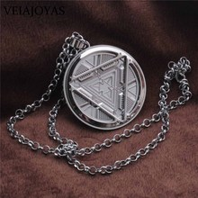 Iron Man Necklace Marvel Hero Tony Stark Arc Reactor Stainless Steel Pendant Necklaces Cabochon Charms Keychains Jewelry for Men