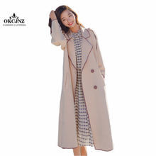 Windbreaker Outerwear Female Spring Autumn Long Paragraph Over The Knee Trench Coat Korean Belt Waist Temperament Vadim X0363(China)