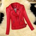 HOT  leather Korean New women's coat fashion collar short  Slim leather jacket